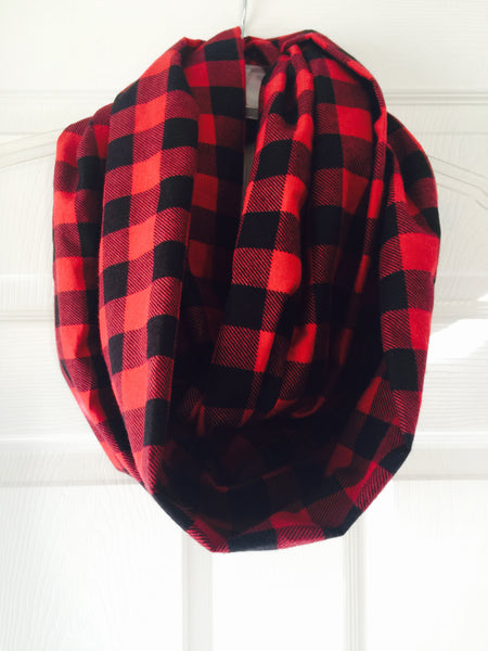 Red and black buffalo plaid super soft Infinity Scarf