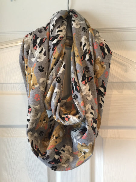 Jersey Knit Gray French Bulldog Infinity Scarf
