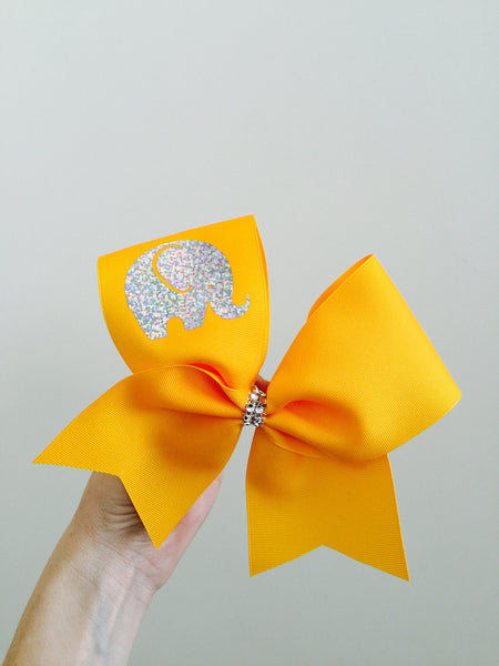 Holographic Baby Elephant Cheer Bow