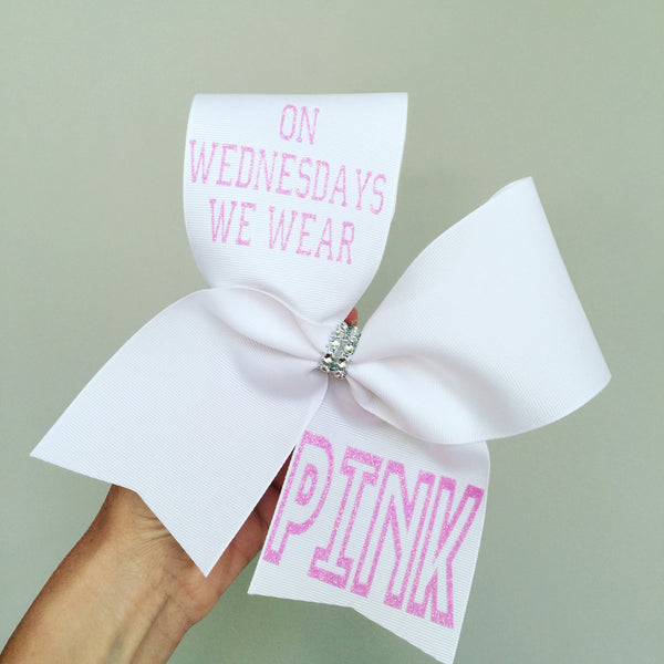 On WEDNESDAY We Wear Pink White and pink Cheer Bow