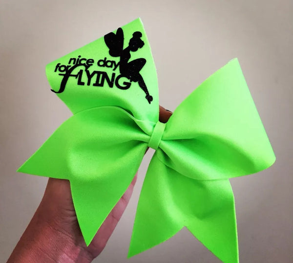 Tinker bell Nice Day For Flying FLYER lime green Cheer Bow