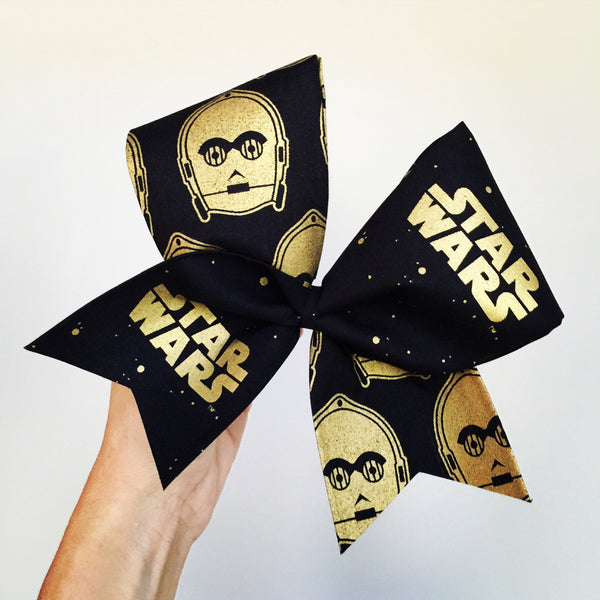 Star Wars C3PO black and Gold Tic Toc Cheer Bow