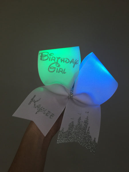 LIGHT UP Personalized Birthday Girl Disney Castle Cheer Bow