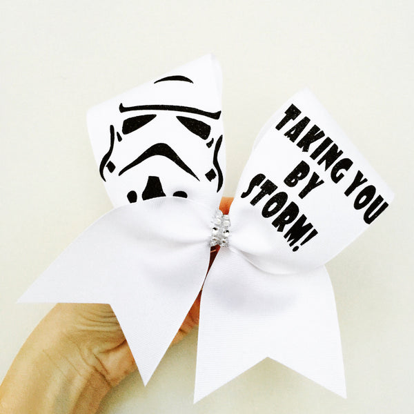 TAKING YOU BY STORM STORM TROOPER Cheer Bow white with Black Glitter
