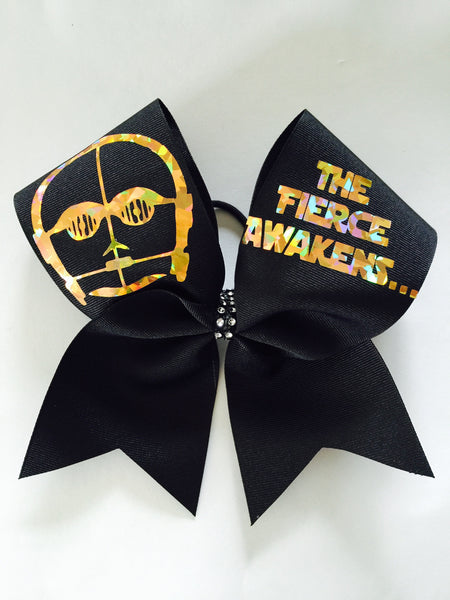 The FIERCE Awakens C3PO Black and Holographic Gold cheer bow