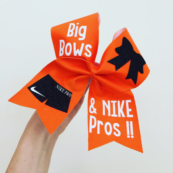 Orange Spandex Big Bows and Nike Pros Cheer Bow