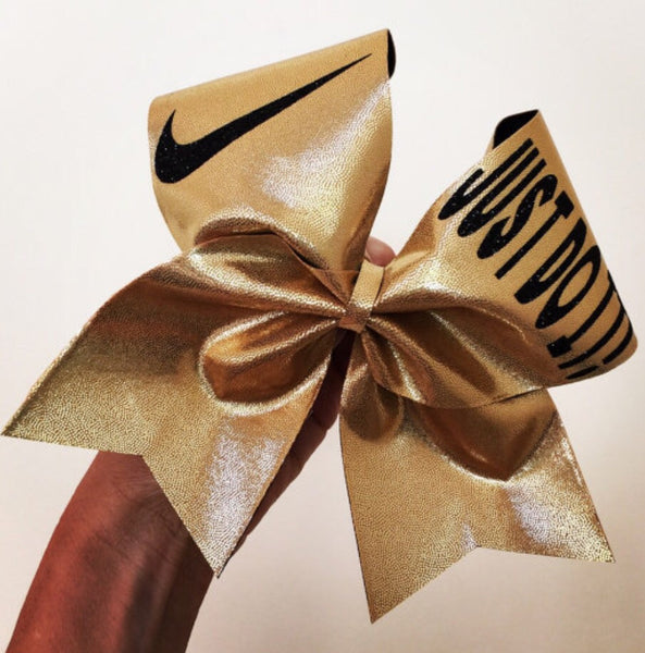 Just Do It Gold Spandex Cheer Bow Glitter Swoosh