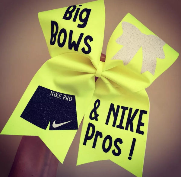Big Bows and Nike Pros Neon Yellow Cheer Bow glitter detail