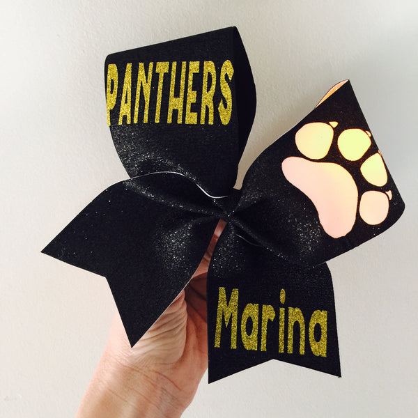 Pick your colors and words! Light Up Paw Total Glitter Cheer Bow