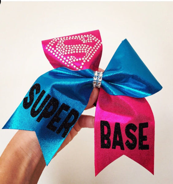 Super Base Pink and Blue Base Cheer Bow Supergirl