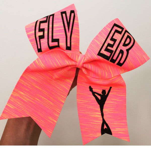 Flyer Neon Sunset spandex Cheer Bow Pink Orange