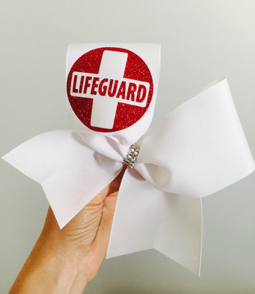 Lifeguard Red glitter Cheer Bow