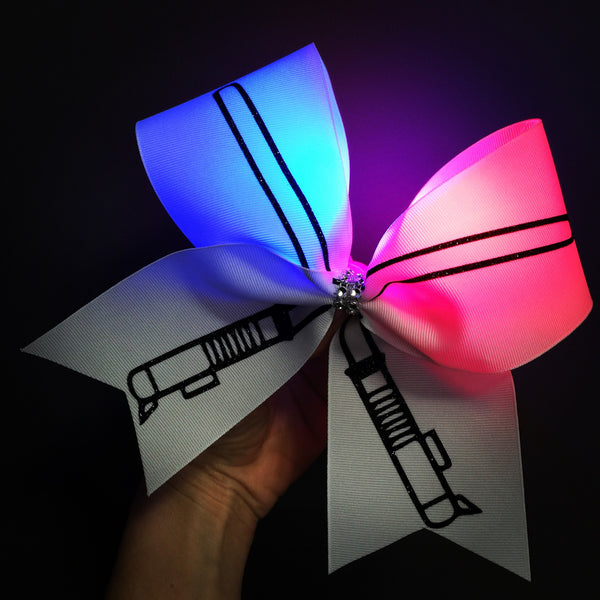 LIGHT UP LIGHTSABER CHEER BOW STAR WARS HAIR BOW