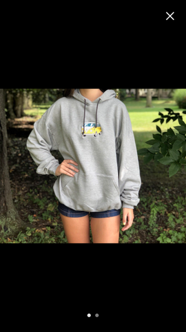 VW Volkswagen Bus embroidered gray hooded hoodie sweatshirt yellow bus Van S M L XL free Shipping.