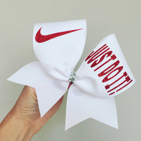 Just Do It red and white swoosh cheer bow