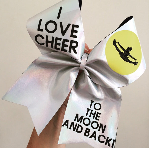 I Love Cheer To The Moon And Back Spandex Cheer Bow
