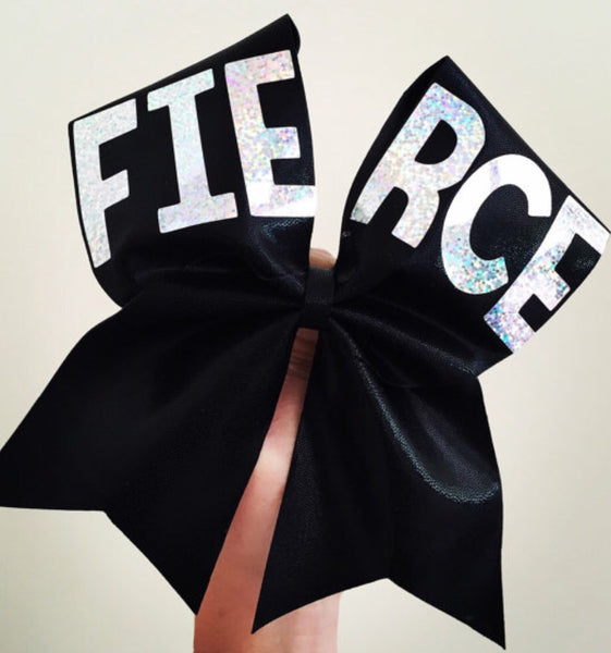 FIERCE holographic Spandex Black Cheer Bow