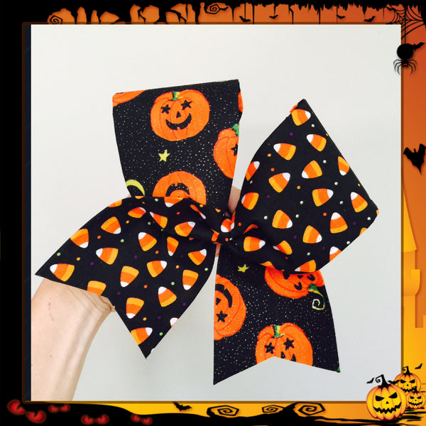 Halloween Tic Toc pumpkin candy corn bow