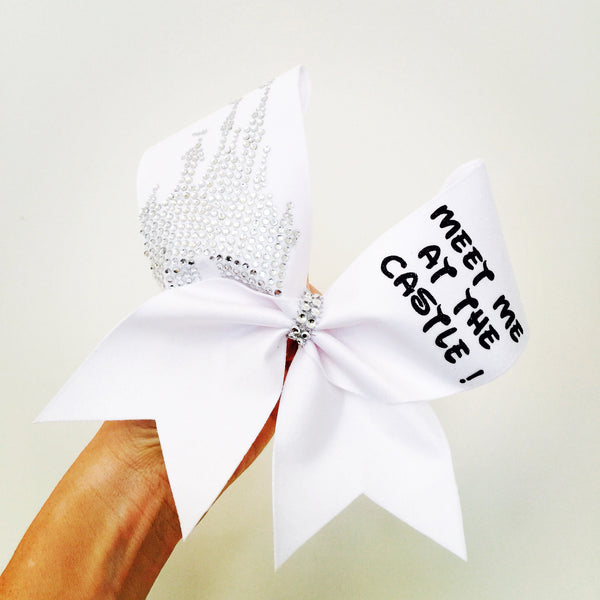 Meet Me At The Castle! White Spandex Cheer Bow with Rhinestone Disney Castle Competition Bow