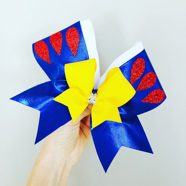 Metallic Spandex Snow White Inspired Cheer Bow