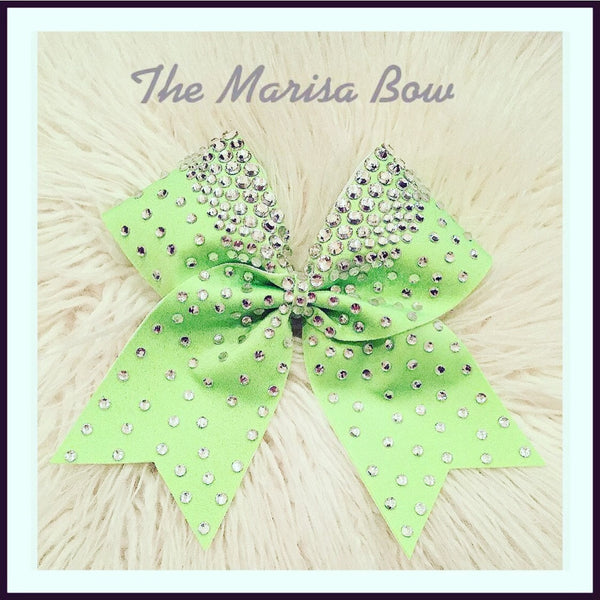 The Marissa Cheer Bow Lime Green Rhinstone Bling