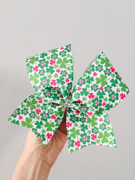 St. Patrick's Day Green Shamrock Cheer Bow clover pink