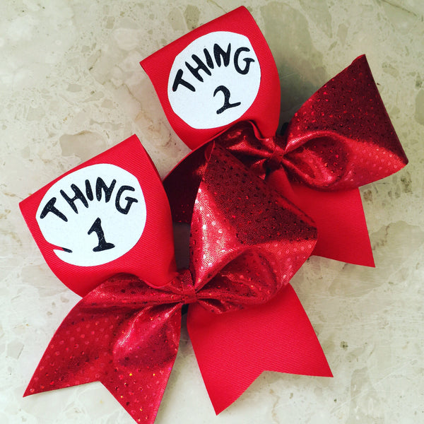 Thing One and Thing Two Deluxe Glitter Logo spandex Bow Set