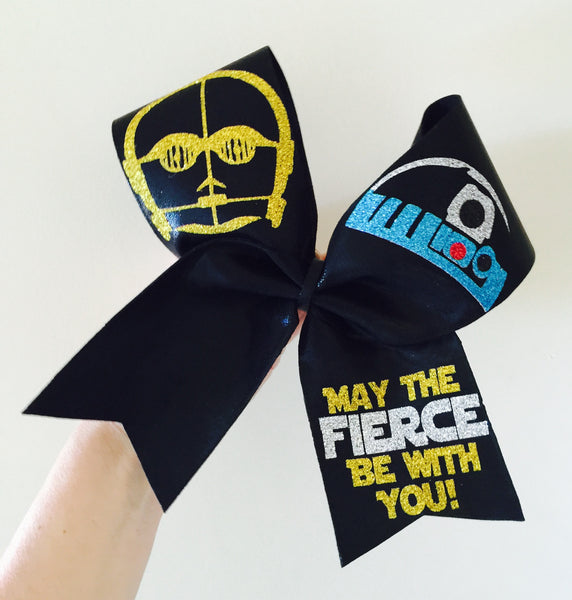 Star Wars May The Fierce Be With You Cheer Bow C3PO R2D2