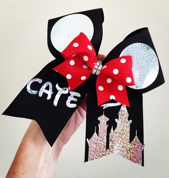 Personalized Mickey Ears Holographic Black Cheer Bow with Polka Dot Mini Bow