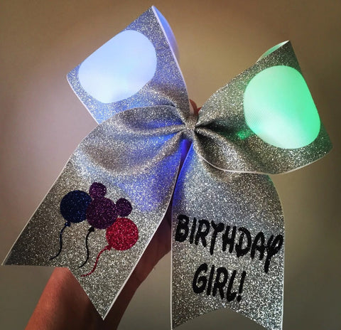 Birthday Girl Light Up Color Changing Mickey Eats Glitter Cheer Bow