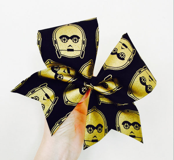 C3PO Metallic gold and black Fabric Cheer Bow