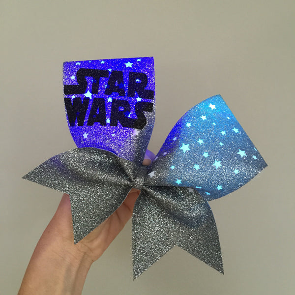 Star Wars All Glitter LIGHT UP Cheer Bow RAINBOW COLOR CHANGING LIGHTS STARS