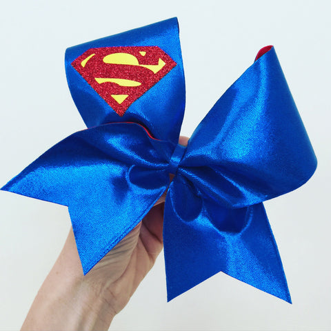 Metallic Superman Cheer Bow Supergirl blue