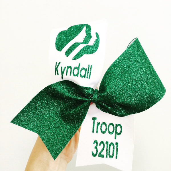 Personalized Girl Scout Troop Bow Scouts Cheer Dance Leader