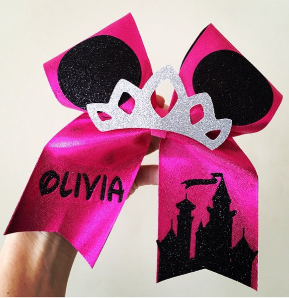 Personalized Pink spandex Mickey Ears Glitter Tiara Cheer Bow!