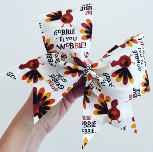 Gobble till you Wobble Thanksgiving Turkey Cheer Bow