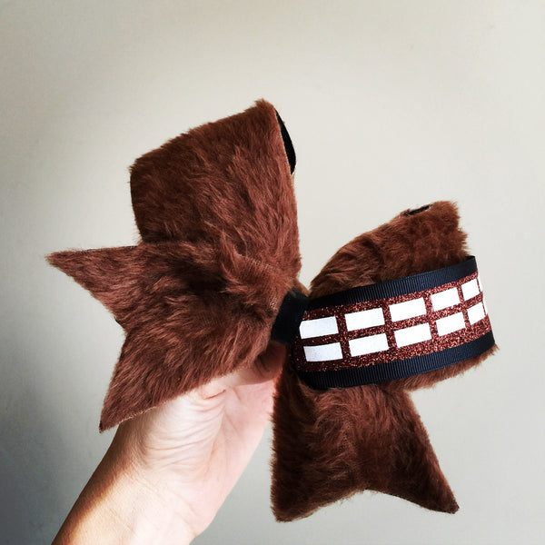 Chewbacca Inspired Brown Furry Cheer Bow Star Wars