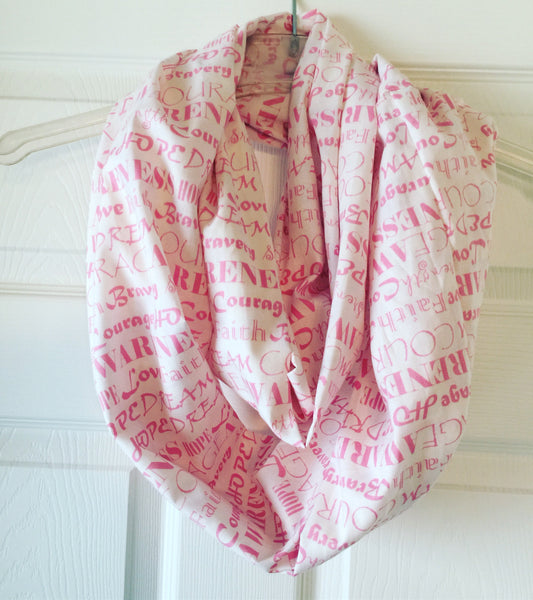 Breast Cancer Awareness Words of Hope and Encouragement Infinity Scarf