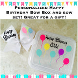 PERSONALIZED HAPPY BIRTHDAY Cheer Bow Box and Birthday Bow Set! Free shipping! bow holder