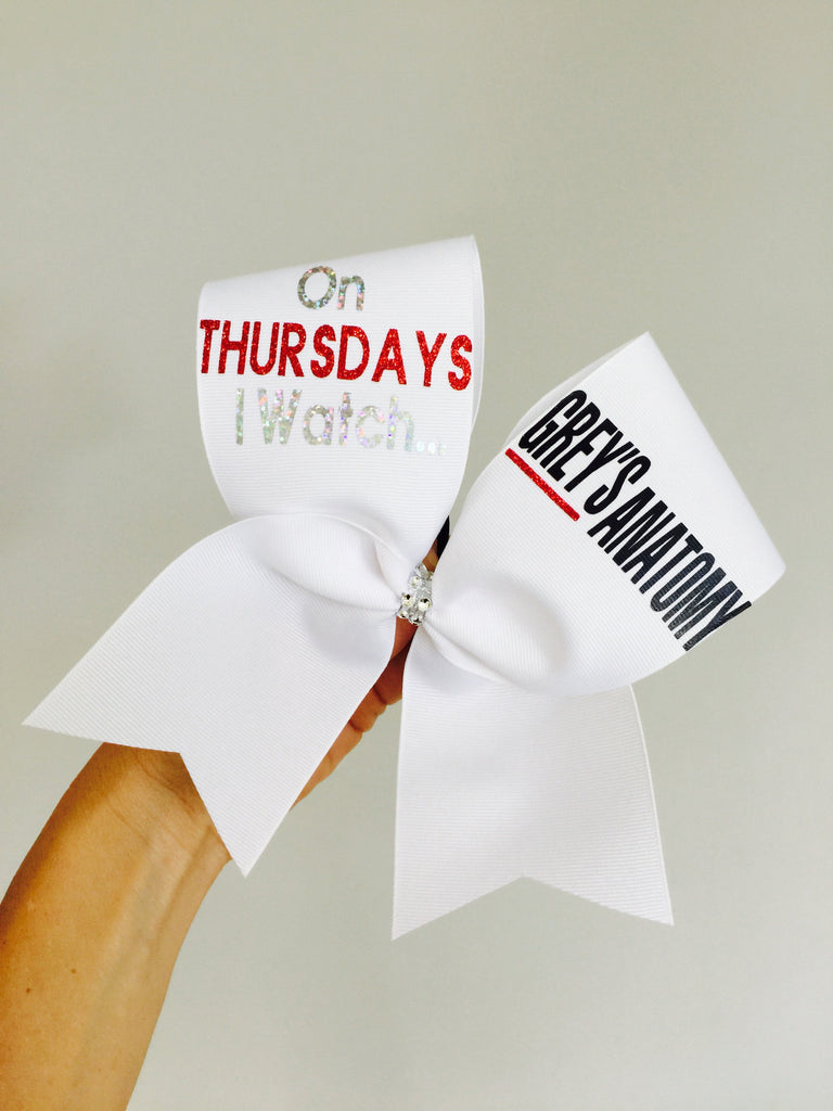 On Thursdays I Watch GREY\'S ANATOMY Cheer Bow – Talk To The Bow
