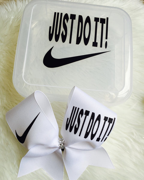 JUST DO IT CHEER BOW HOLDER BOX AND JUST DO IT BLACK AND WHITE CHEER BOW SET!