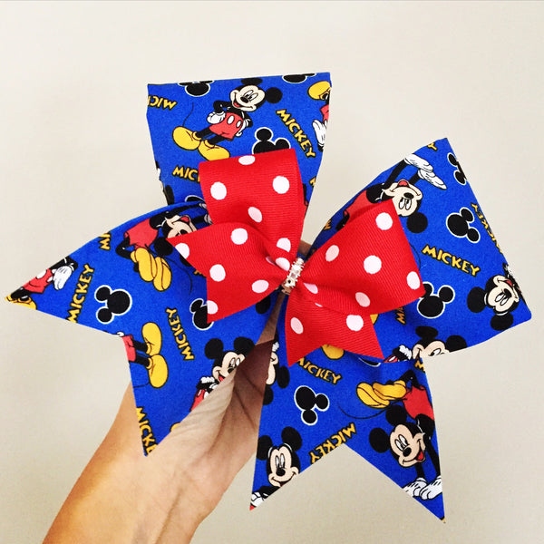 Deluxe Mickey Mouse Big Fabric Cheer Bow with Mini bow Attached
