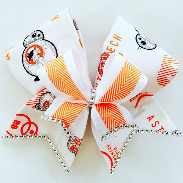 Deluxe BB8 fabric Cheer Bow Rhinestone Trim Star Wars Droid