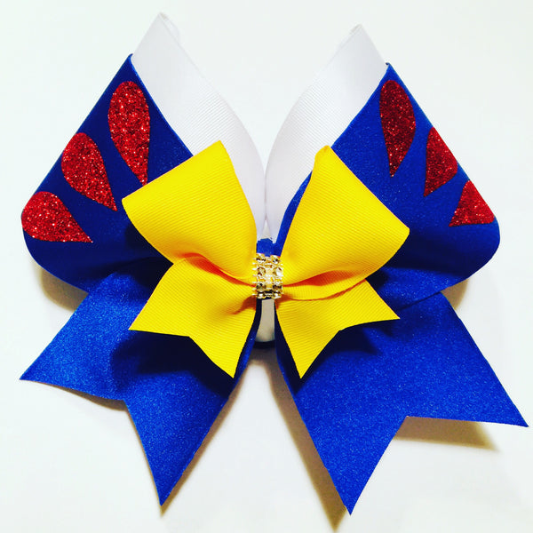 Snow White Inspired Beautiful Spandex Cheer Bow Disney Princess