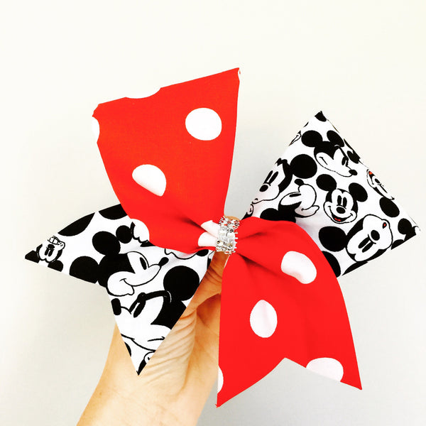 Mickey Mouse Faces polka Dot tic toc Fabric Cheer Bow