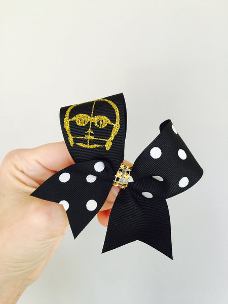 Baby C3PO Hair Bow Cheer Bow Mini Bow