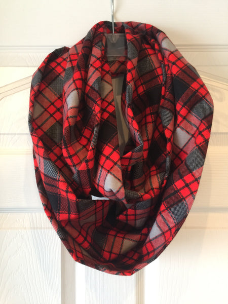 Red Black and gray Plaid Check Infinity Scarf