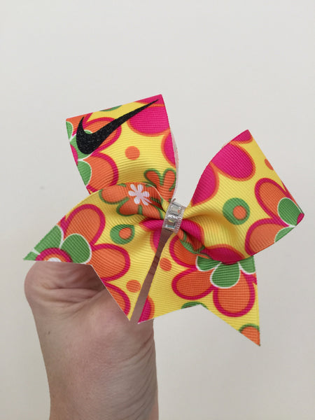 Groovy Flowered Baby Swoosh Mini Cheer bow or Keychain Bow Baby
