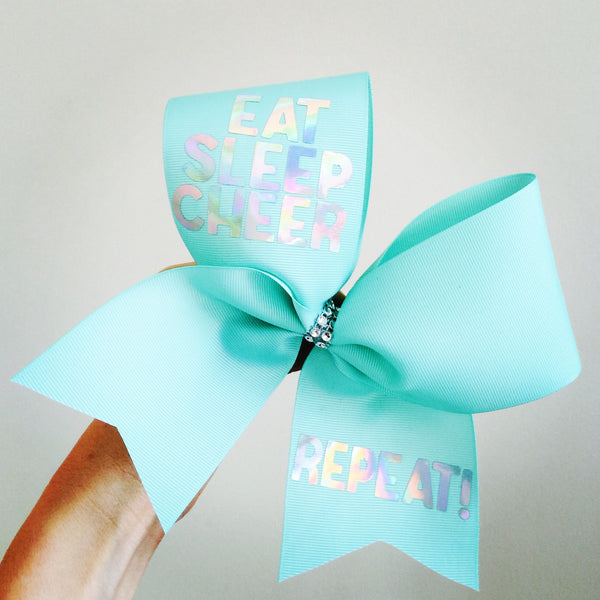 Sea foam Green Eat Sleep Cheer Repeat Cheer Bow