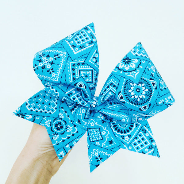 Teal Blue Bandana Cheer Bow Country western